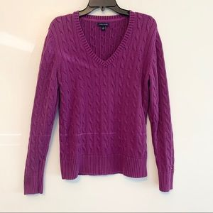 Tommy Hilfiger Sweaters - Tommy Hilfiger Purple V-Neck Cableknit Sweater XL